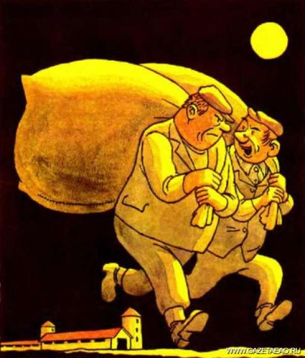 Что несли с работы? - – Вот ты мне объясни, Федор, почему своя скотина привесу больше колхозной дает, а питается тем же?