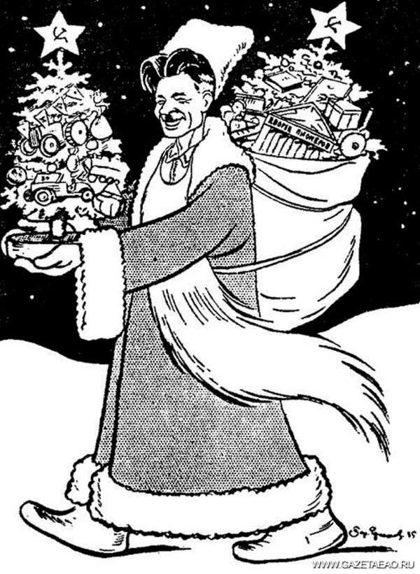 Ёлка красная, ёлка нашенская - П. Постышев в образе Деда Мороза (шарж 1935 г.)