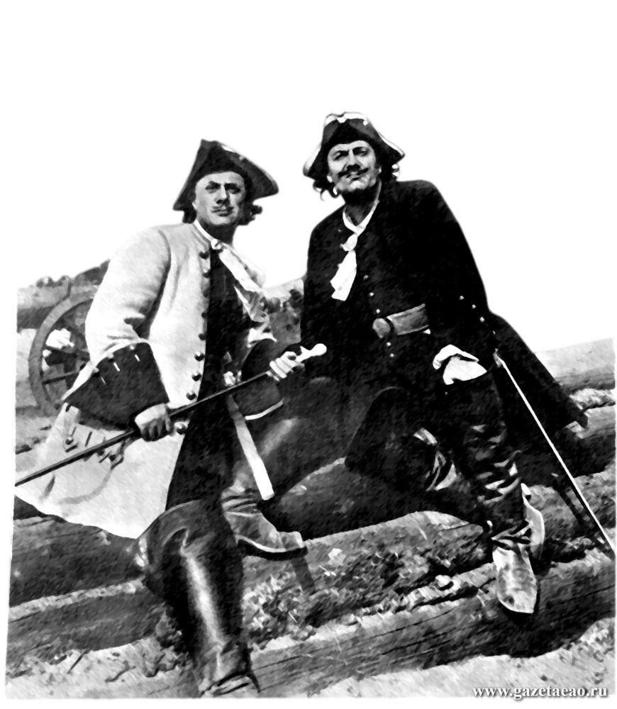 «Петр Первый» - Н. Симонов (справа) в роли Петра и М. Жаров (слева) в роли Меншикова.