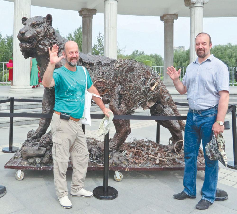 Полосатое объединение - На праздновании Дня тигра и первой годовщины Северо-Восточного национального парка тигров и леопардов в г. Чанчунь (КНР) была представлена скульптура тигра, сделанная из собранных в лесу браконьерских петель и капканов.
