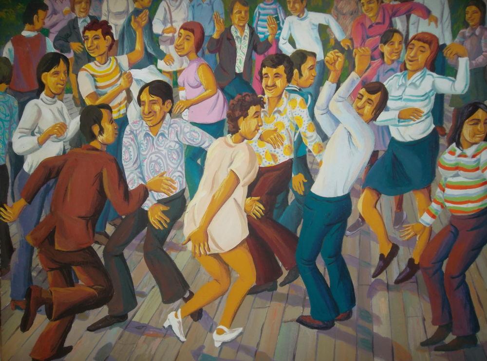 Пригласи меня на танец,  или Танцплощадка семидесятых - Репродукция картины  Владислава Цапа  «Танцплощадка»  из серии «Семидесятые»