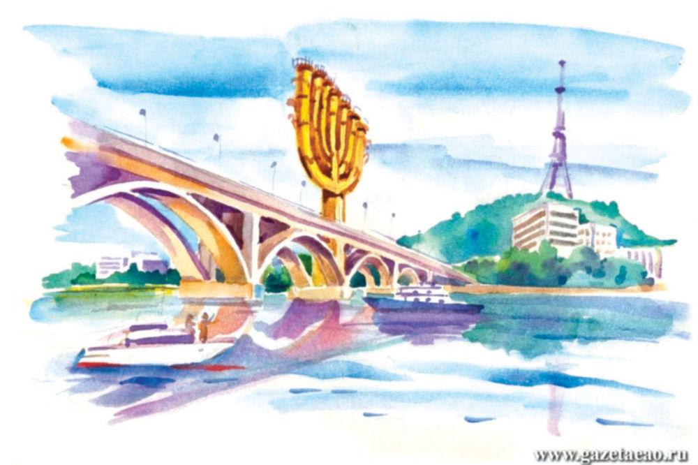 «Новому мосту» поставят диагноз - На рисунке Владислава ЦАПА: Биробиджан глазами футуристов: новый мост через Биру с золотой менорой.